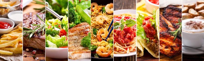 opções de comida caseira e fast food